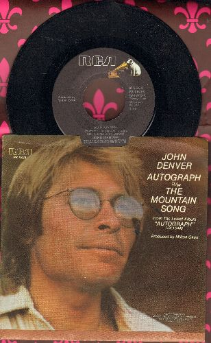 Denver, John - Autograph/The Mountain Song (with picture sleeve) - NM9/NM9 - 45 rpm Records