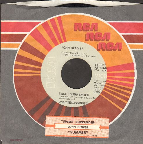 Denver, John - Sweet Surrender/Summer (with juke box label and RCA company sleeve) - EX8/ - 45 rpm Records