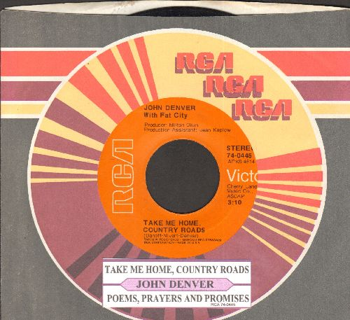 Denver, John - Take Me Home, Country Roads/Poems, Prayers And Promises  (with juke box label and RCA company sleeve) - NM9/ - 45 rpm Records