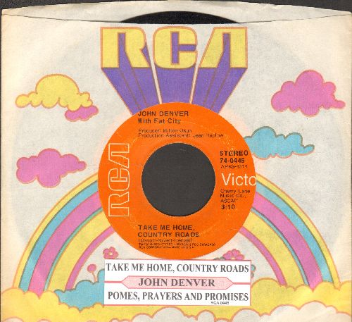 Denver, John - Take Me Home, Country Roads/Poems, Prayers And Promises (with juke box label and RCA company sleeve) - EX8/ - 45 rpm Records