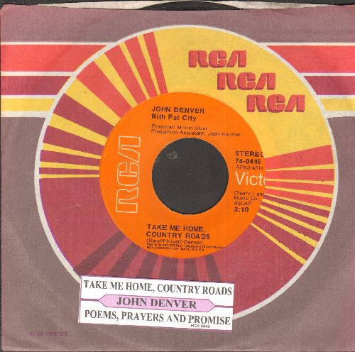 Denver, John - Take Me Home, Country Roads/Poems, Prayers And Promises  (with juke box label and RCA company sleeve) - VG7/ - 45 rpm Records