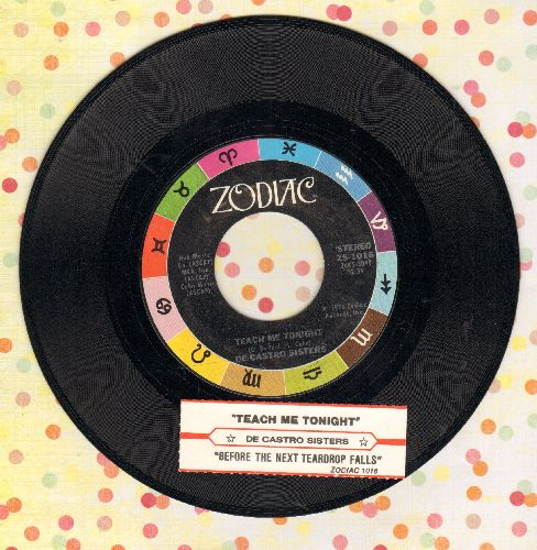 De Castro Sisters - Teach Me Tonight/Before The Next Teardrop Falls (with juke box label) - NM9/ - 45 rpm Records