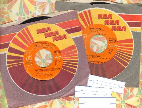 Denver, John - 2 45rpm records for the price of 1! Hits include Sunshine On My Shoulder and Annie's Song, with RCA company sleeves and 3 blank juke box labels - VG7/ - 45 rpm Records