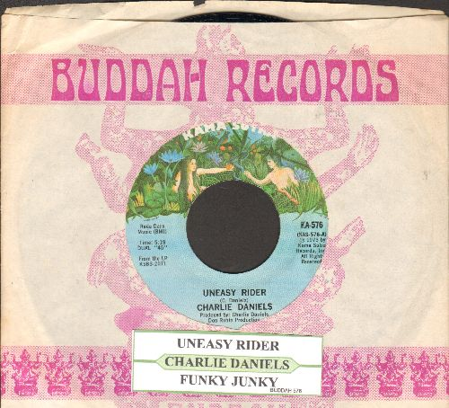 Daniels, Charlie - Uneasy Rider/Funky Junky (1973 first pressing with juke box label and company sleeve) - NM9/ - 45 rpm Records