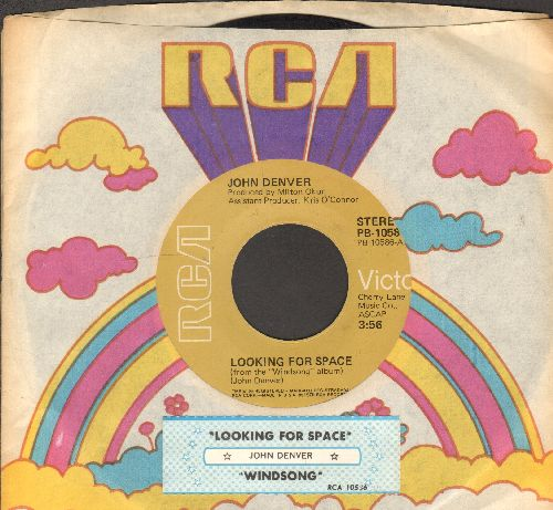 Denver, John - Windsong/Looking For Space (with juke box label and RCA company sleeve) - EX8/ - 45 rpm Records