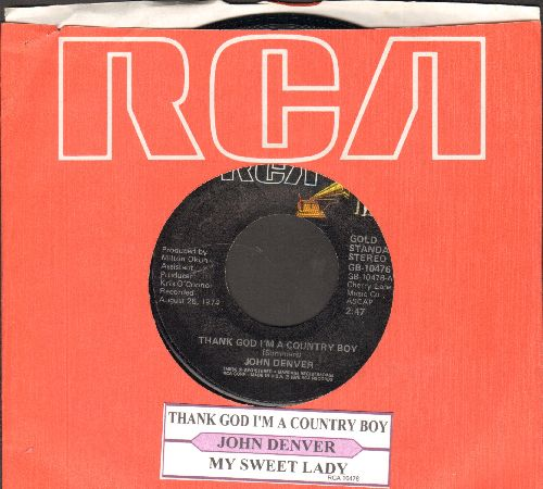 Denver, John - Thank God I'm A Country Boy/My Sweet Lady (re-issue with juke box label and RCA company sleeve) - NM9/ - 45 rpm Records