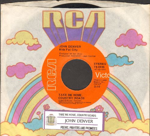 Denver, John - Take Me Home, Country Roads/Poems, Prayers And Promises (with RCA company sleeve and juke box label) - EX8/ - 45 rpm Records