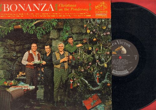 Greene, Lorne, Michael Landon, Dan Blocker, Pernell Roberts - Bonanza - Christmas on the Ponderosa: Deck The Halls, Jingle Bells, Merry Christmas Neighbor, Christmas Is A-Comin' (vinyl MONO LP record) - EX8/VG7 - LP Records