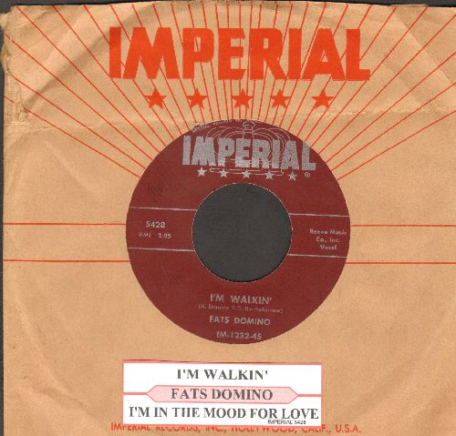 Domino, Fats - I'm Walkin'/I'm In The Mood For Love (maroon label first issue with juke box label and RARE vintage Imperial company sleeve) - EX8/ - 45 rpm Records