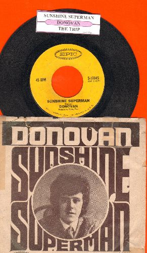 Donovan - Sunshine Superman/The Trip (with juke box label and picture sleeve) - EX8/VG6 - 45 rpm Records