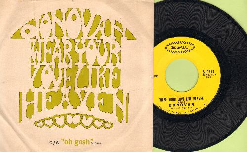 Donovan - Wear Your Love Like Heaven/Oh Gosh (with picture sleeve, song lyrics on back of sleeve) - NM9/EX8 - 45 rpm Records