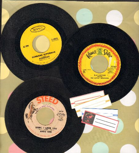 Donovan, Andy Kim, Lovin' Spoonful - Bubblegum 3-Pack. First issue 45s includes hits Sunshine Superman, Baby I Love You, Daydream (shipped in plain paper sleeves with 4 blank juke box labels) - VG7/ - 45 rpm Records