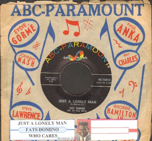 Domino, Fats - Just A Lonely Man/Who Cares (with juke box label ABC-Paramount company sleeve) - VG7/ - 45 rpm Records