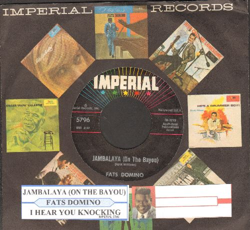 Domino, Fats - Jambalaya (On The Bayou)/I Hear You Knocking (with juke box label and Imperial company sleeve) - NM9/ - 45 rpm Records