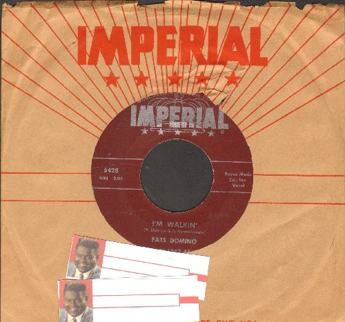 Domino, Fats - I'm Walkin'/I'm In The Mood For Love (maroon label first issue with 2 blank juke box labels and RARE vintage Imperial company sleeve) - EX8/ - 45 rpm Records