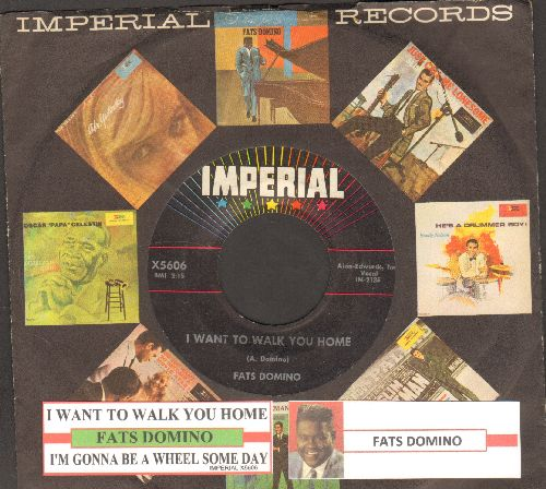 Domino, Fats - I Want To Walk You Home/I'm Gonna Be A Wheel Someday (with juke box label and vintage Imperial company sleeve) - NM9/ - 45 rpm Records