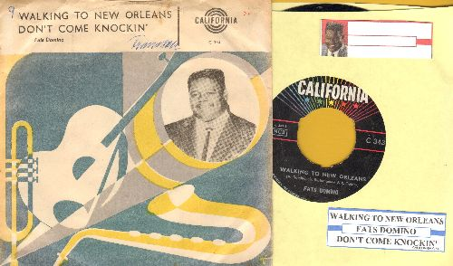 Domino, Fats - Walking To New Orleans/Don't Come Knocking (Danish Pressing with juke box label and picture sleeve) - VG7/VG6 - 45 rpm Records