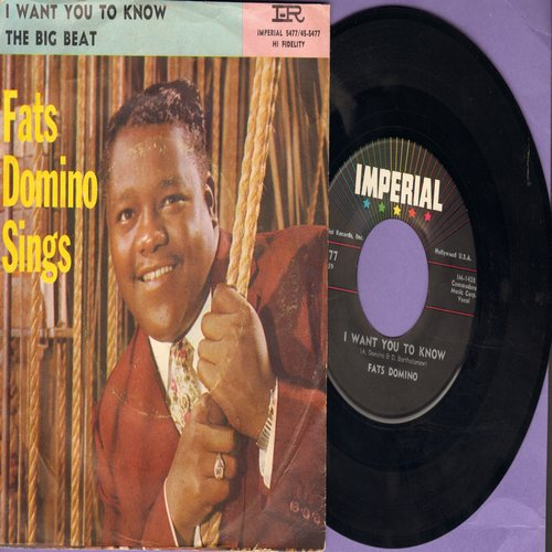 Domino, Fats - I Want You To Know/The Big Beat (with RARE picture sleeve) - EX8/VG7 - 45 rpm Records