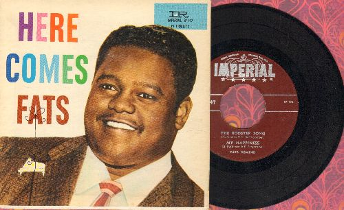 Domino, Fats - Here Comes Fats: The Rooster Song/My Happiness/As Time Goes By/Hey La Bas (vinyl EP record with picture cover) - EX8/EX8 - 45 rpm Records