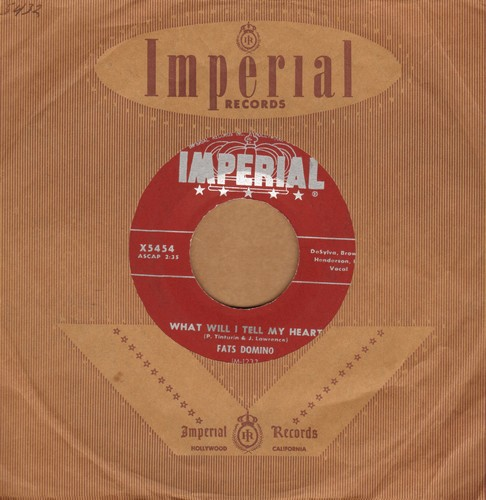 Domino, Fats - What Will I Tell My Heart/When I See You (burgundy label with RARE vintage Imperial company sleeve) - EX8/ - 45 rpm Records