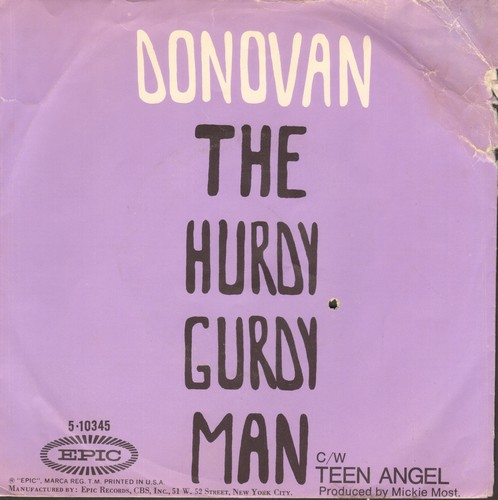 Donovan - Hurdy Gurdy Man/Teen Angel (with picture sleeve) - NM9/VG6 - 45 rpm Records
