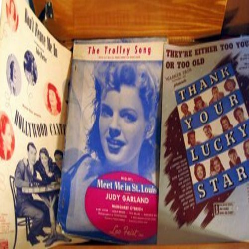 Garland, Judy, Bette Davis, Andrews Sisters - The Trolly Song/Don't Fence Me In/They're Eiher Too Young Or Too Old - Set of 3 vintage Hollywood Musical SHEET MUSIC (This is SHEET MUSIC, not any other kind of media!) - VG7/ - Sheet Music