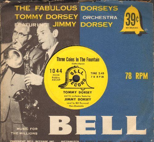 Dorsey, Tommy & His Orchestra featuring Jimmy Dorsey - Three Coins In The Fountain (vocal by Bill Raymond)/Little Girl (vocal by Gordon Polk)(7 inch 78rpm record, small spindle hole with RARE picture sleeve) - EX8/ - 45 rpm Records