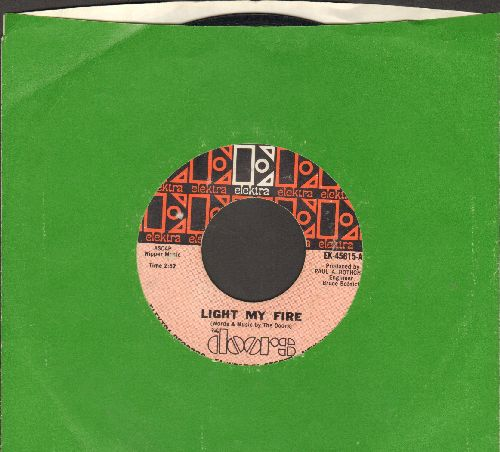 Doors - Light My Fire/Crystal Ship (unusual pink label with solid green Elektra company sleeve) - EX8/ - 45 rpm Records