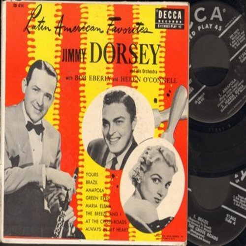 Dorsey, Jimmy & Orchestra with Bob Eberly & Helen O'Connell - Latin American Favorites: Brazil/The Breeze And I/Amapola/Maria Elena + 4 (2 vinyl EP records in gate-fold album) - NM9/VG7 - 45 rpm Records