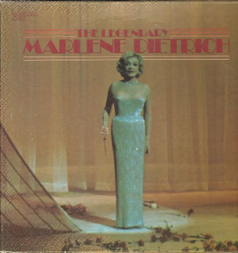 Dietrich, Marlene - The Legenday: Lili Marlene, Jonny, Miss Otis Regret, My Blue Heaven, Annie Doesn't Live Here Anymore (3 vinyl LP records, box set, 1978 issue of LIVE performance) - EX8/EX8 - LP Records