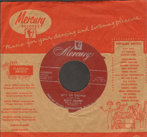 Draper, Rusty - Let's Go Calypso/Should I Ever Love Again (with vintage Mercury company sleeve) - VG7/ - 45 rpm Records