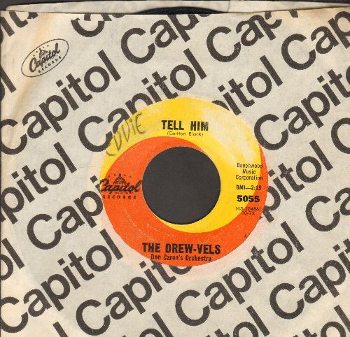 Drew-Vels - Tell Him/Just Because (with Capitol company sleeve)(minor wol) - VG7/ - 45 rpm Records