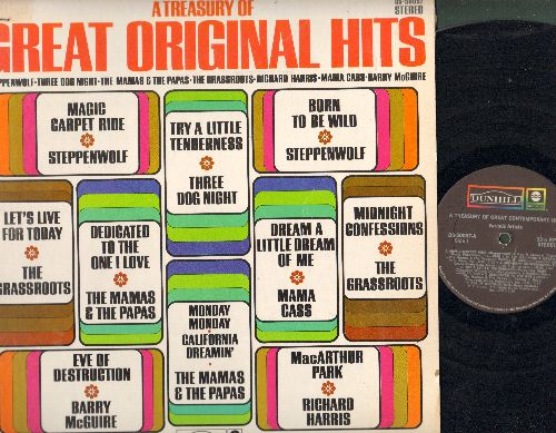 Steppenwolf, Mamas & Papas, Grassroots, others - A Treasury Of Great Original Hits: Born To Be Wild, Eve Of Destruction, Let's Live For Today, MacArthur Park, Dedicated To The One I Love (Vinyl STEREO LP record) - EX8/EX8 - LP Records