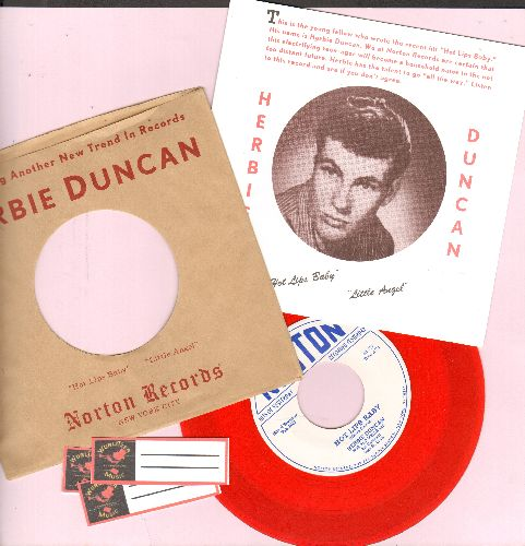 Duncan, Herbie - Hot Lips Baby/Little Angel (Red VINYL Pressing with gate-fold picture cover and 3 blank juke box labels) - M10/M10 - 45 rpm Records