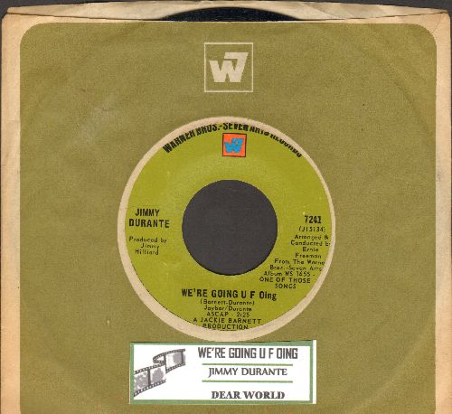 Durante, Jimmy - We're Going U F Oing/Dear World (duet with Maurice Chevalier) (with juke box label and Warner Brothers company sleeve) - NM9/ - 45 rpm Records