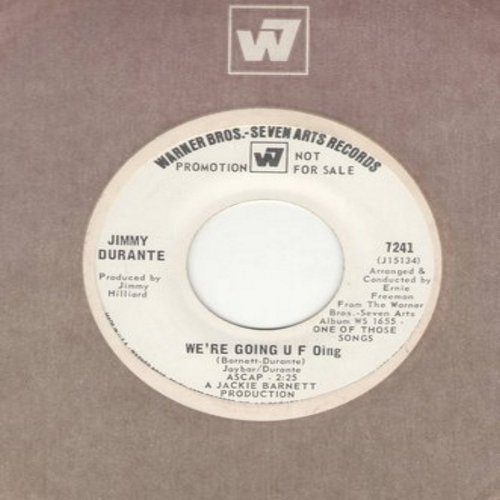 Durante, Jimmy - We're Going U F Oing/Dear World (DJ advance pressing with Warner Brothers company sleeve) - VG7/ - 45 rpm Records
