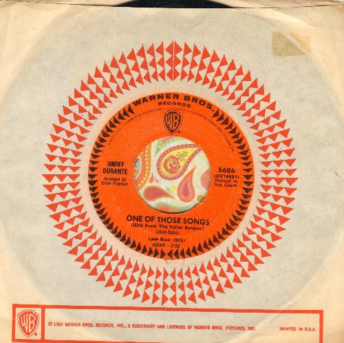 Durante, Jimmy - One Of Those Songs/(I Wonder) What Became Of Life (with Warner Brothers company sleeve) - NM9/ - 45 rpm Records