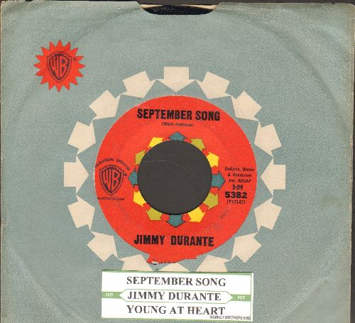 Durante, Jimmy - September Song/Young At Heart (with vintage Warner Brothers company sleeve and juke box label) - NM9/ - 45 rpm Records