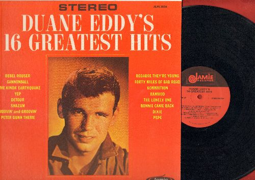 Eddy, Duane - Duane Eddy's 16 Greatest Hits: Rebel Rouser, Peter Gunn Theme, Because They're Young, Yep. Detour, Shazam (Vinyl STEREO LP record, re-issue of vintag recordings, NICE condition!) - NM9/NM9 - LP Records