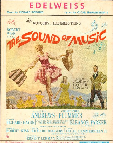 Andrews, Julie, Christopher Plummer - Edelweiss - SHEET MUSIC for the song featured in -The Sound Of Music-, NICE cover art from film poster! - EX8/ - Sheet Music