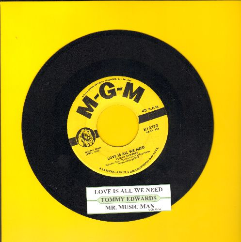 Edwards, Tommy - Love Is All We Need/Mr. Music Man (yellow label first pressing with juke box label) - EX8/ - 45 rpm Records