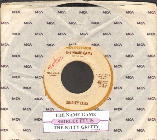 Ellis, Shirley - The Name Game/The Nitty Gritty (double-hit re-issue with juke box label and MCA company sleeve) - VG6/ - 45 rpm Records