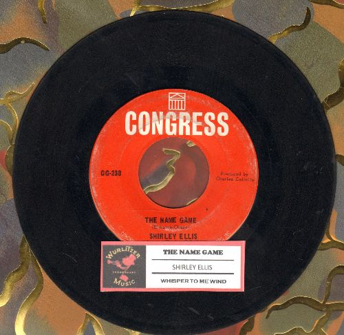 Ellis, Shirley - The Name Game (PARTY FAVORITE!)/Whisper To Me Wind (with RARE Congress company sleeve) - VG7/ - 45 rpm Records