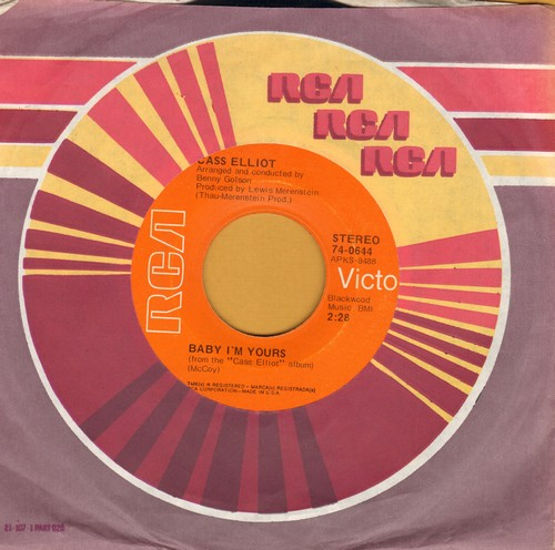 Elliot, Cass (Mama Cass) - Baby I'm Yours/Cherries Jubilee (with RCA company sleeve) - EX8/ - 45 rpm Records
