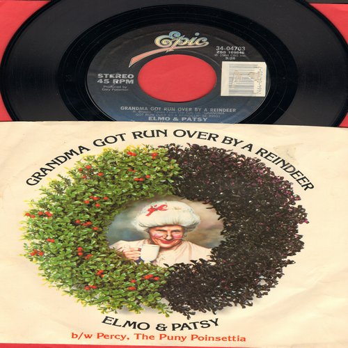 Elmo & Patsy - Grandma Got Run Over By A Reindeer/Percy, The Puny Poinsettia (with picture sleeve)) - NM9/NM9 - 45 rpm Records