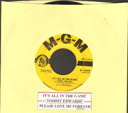Edwards, Tommy - It's All In The Game (Many-A Tear Has To Fall)/Please Love Me Forever (yellow label first issue with juke box label) - VG7/ - 45 rpm Records