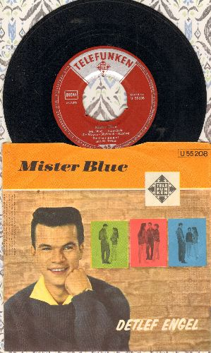 Engel, Detlef - Mister Blue/Junges Gluck (German Pressing with picture sleeve, sung in German) - VG7/EX8 - 45 rpm Records
