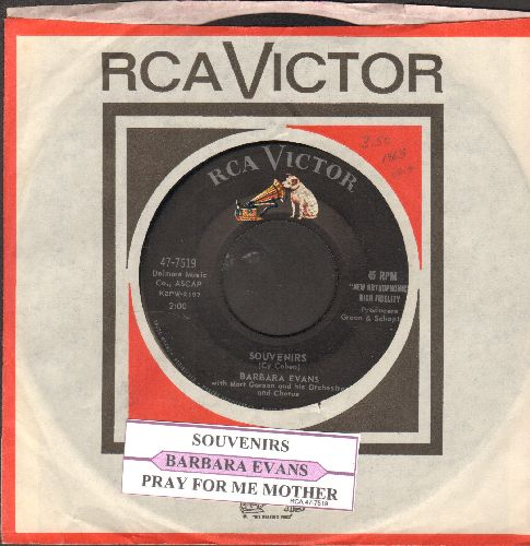Evans, Barbara - Souvenirs/Pray For Me Mother (with juke box label and RCA company sleeve) - EX8/ - 45 rpm Records