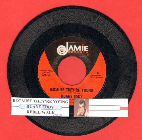 Eddy, Duane - Because They're Young/Rebel Walk (red/black label, white logo second pressing with juke box label) - NM9/ - 45 rpm Records
