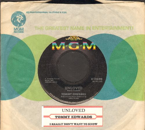 Edwards, Tommy - Unloved/I Really Don't Want To Know (with MGM company sleeve and juke box label) - NM9/ - 45 rpm Records